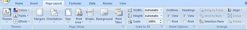 Page Layout Tab in MS Excel in Hindi