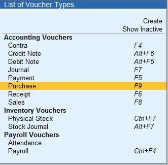Inventory Voucher in Tally Prime