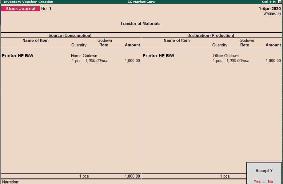Inventory Voucher : Stock Journal