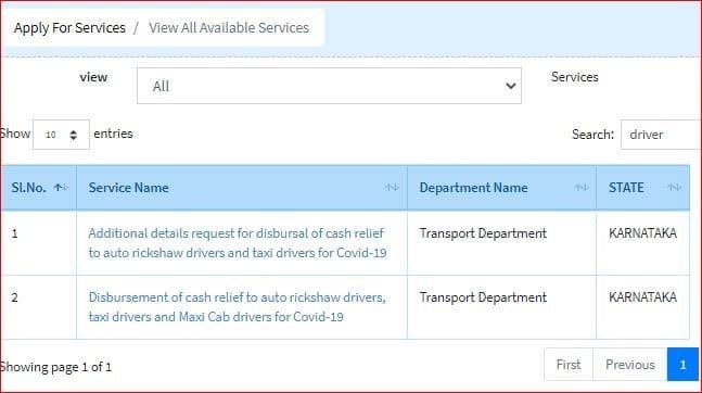 Auto drive 5000 application form Seva Sindhu